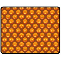 Pumpkin Face Mask Sinister Helloween Orange Fleece Blanket (medium)  by Alisyart