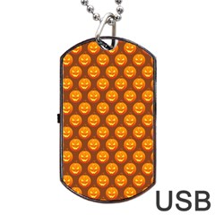 Pumpkin Face Mask Sinister Helloween Orange Dog Tag Usb Flash (two Sides) by Alisyart