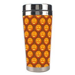 Pumpkin Face Mask Sinister Helloween Orange Stainless Steel Travel Tumblers