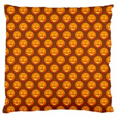 Pumpkin Face Mask Sinister Helloween Orange Large Flano Cushion Case (one Side) by Alisyart