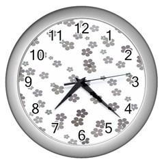 Flower Grey Jpeg Wall Clocks (silver)  by Alisyart