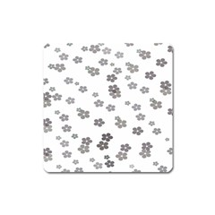 Flower Grey Jpeg Square Magnet