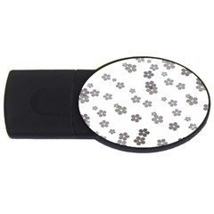 Flower Grey Jpeg Usb Flash Drive Oval (2 Gb)