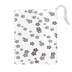 Flower Grey Jpeg Drawstring Pouches (extra Large)