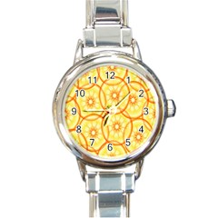 Lemons Orange Lime Circle Star Yellow Round Italian Charm Watch