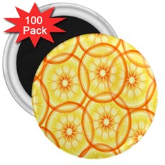 Lemons Orange Lime Circle Star Yellow 3  Magnets (100 Pack)