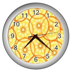 Lemons Orange Lime Circle Star Yellow Wall Clocks (silver)  by Alisyart