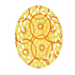 Lemons Orange Lime Circle Star Yellow Oval Filigree Ornament (two Sides) by Alisyart