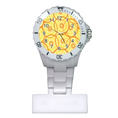 Lemons Orange Lime Circle Star Yellow Plastic Nurses Watch by Alisyart