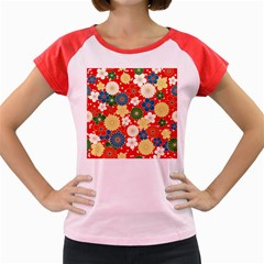 Season Flower Rose Sunflower Red Green Blue Women s Cap Sleeve T Shirt