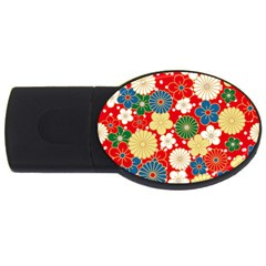 Season Flower Rose Sunflower Red Green Blue Usb Flash Drive Oval (4 Gb)