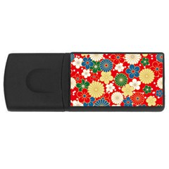 Season Flower Rose Sunflower Red Green Blue Usb Flash Drive Rectangular (4 Gb)