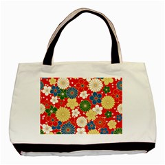 Season Flower Rose Sunflower Red Green Blue Basic Tote Bag by Alisyart