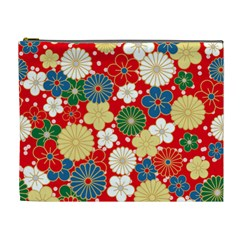 Season Flower Rose Sunflower Red Green Blue Cosmetic Bag (xl)