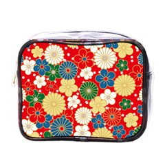 Season Flower Rose Sunflower Red Green Blue Mini Toiletries Bags by Alisyart