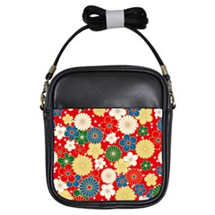Season Flower Rose Sunflower Red Green Blue Girls Sling Bags by Alisyart