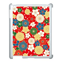 Season Flower Rose Sunflower Red Green Blue Apple Ipad 3/4 Case (white) by Alisyart