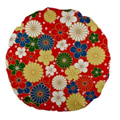 Season Flower Rose Sunflower Red Green Blue Large 18  Premium Round Cushions by Alisyart