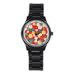 Season Flower Rose Sunflower Red Green Blue Stainless Steel Round Watch by Alisyart