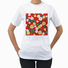 Season Flower Rose Sunflower Red Green Blue Women s T Shirt (white)