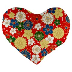 Season Flower Rose Sunflower Red Green Blue Large 19  Premium Flano Heart Shape Cushions