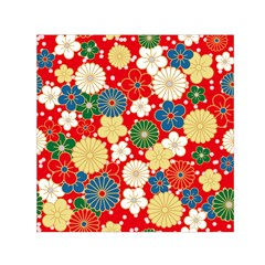 Season Flower Rose Sunflower Red Green Blue Small Satin Scarf (square)