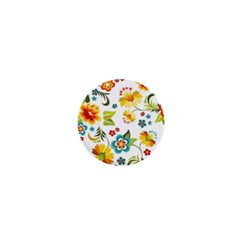 Flower Floral Rose Sunflower Leaf Color 1  Mini Buttons