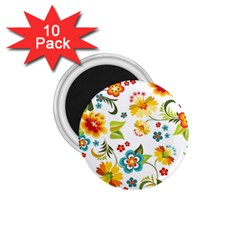 Flower Floral Rose Sunflower Leaf Color 1 75  Magnets (10 Pack)