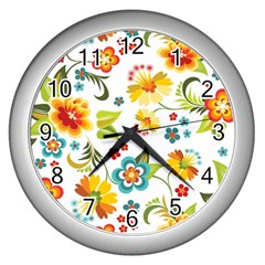Flower Floral Rose Sunflower Leaf Color Wall Clocks (silver)