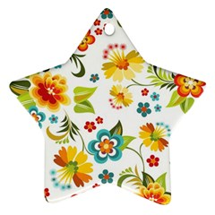 Flower Floral Rose Sunflower Leaf Color Star Ornament (two Sides)
