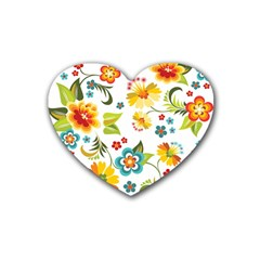 Flower Floral Rose Sunflower Leaf Color Heart Coaster (4 Pack)