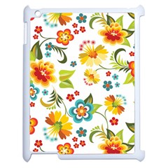 Flower Floral Rose Sunflower Leaf Color Apple Ipad 2 Case (white) by Alisyart