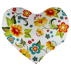 Flower Floral Rose Sunflower Leaf Color Large 19  Premium Flano Heart Shape Cushions by Alisyart