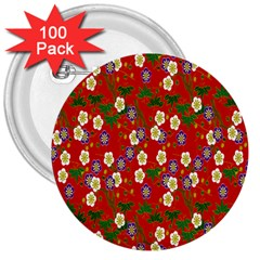 Red Flower Floral Tree Leaf Red Purple Green Gold 3  Buttons (100 Pack)  by Alisyart