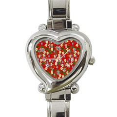 Red Flower Floral Tree Leaf Red Purple Green Gold Heart Italian Charm Watch