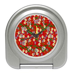 Red Flower Floral Tree Leaf Red Purple Green Gold Travel Alarm Clocks
