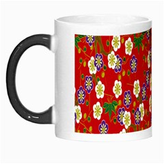 Red Flower Floral Tree Leaf Red Purple Green Gold Morph Mugs by Alisyart