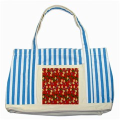 Red Flower Floral Tree Leaf Red Purple Green Gold Striped Blue Tote Bag