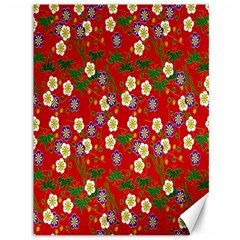 Red Flower Floral Tree Leaf Red Purple Green Gold Canvas 36  X 48