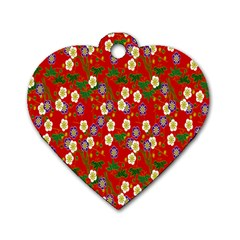 Red Flower Floral Tree Leaf Red Purple Green Gold Dog Tag Heart (one Side)