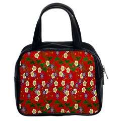 Red Flower Floral Tree Leaf Red Purple Green Gold Classic Handbags (2 Sides) by Alisyart