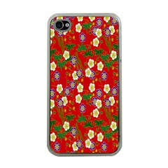Red Flower Floral Tree Leaf Red Purple Green Gold Apple Iphone 4 Case (clear) by Alisyart