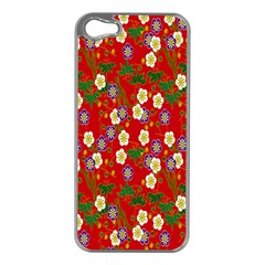 Red Flower Floral Tree Leaf Red Purple Green Gold Apple Iphone 5 Case (silver)