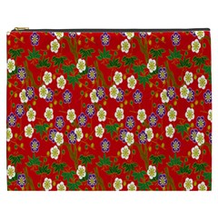 Red Flower Floral Tree Leaf Red Purple Green Gold Cosmetic Bag (xxxl)