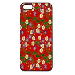 Red Flower Floral Tree Leaf Red Purple Green Gold Apple Iphone 5 Seamless Case (black)