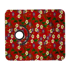 Red Flower Floral Tree Leaf Red Purple Green Gold Galaxy S3 (flip/folio)