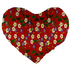 Red Flower Floral Tree Leaf Red Purple Green Gold Large 19  Premium Heart Shape Cushions