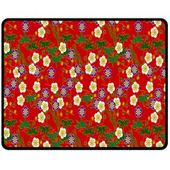 Red Flower Floral Tree Leaf Red Purple Green Gold Double Sided Fleece Blanket (medium)