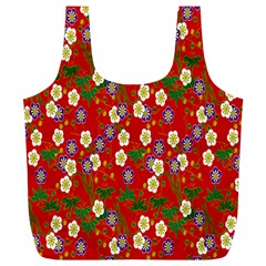 Red Flower Floral Tree Leaf Red Purple Green Gold Full Print Recycle Bags (l)  by Alisyart