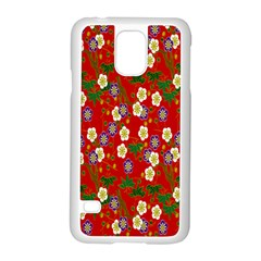 Red Flower Floral Tree Leaf Red Purple Green Gold Samsung Galaxy S5 Case (white)